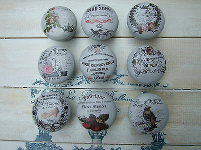 French Designs On Grey 'shabby Chic' Style Drawer/ Cupboard Knobs