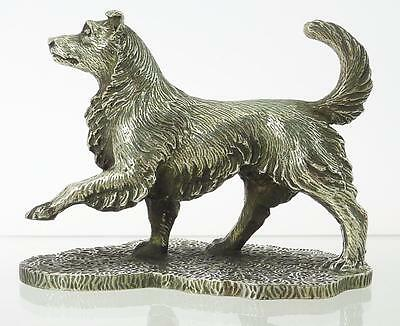 Superb Quality Hand Crafted Silver Plate Collie Dog. Paperweight. NICE1