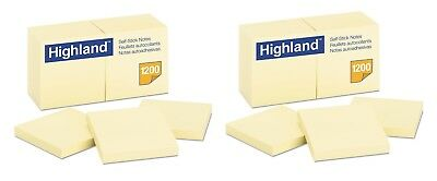 Highland Self Stick Pads 3 x 3 Yellow 100 Sheets Pad 12 Pads Pack - New Item
