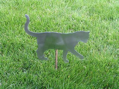 Cat kitty playing yard garden stake metal art feline #1