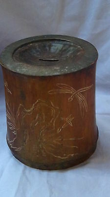 ANTIQUE 19c CHINESE BAMBOO HAND CARVED WITH A DRAGONFLY &BUSHES MONEY BANK