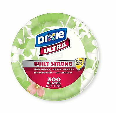 """Dixie Ultra Paper Plates Heavyweight 6 7/8"""" 300 Count  Heavy Messy Meals - New"""
