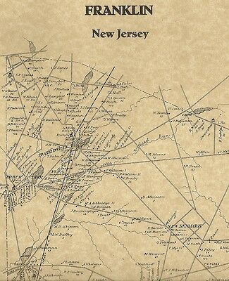 Franklinville Newfield Malaga Franklin NJ 1876 Maps with Homeowners Names Shown