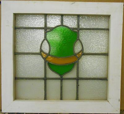 "OLD ENGLISH LEADED STAINED GLASS WINDOW Nice Abstract Design 24.75"" x 23"""