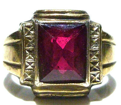 Art Deco Old Estate Sterling Silver 10K Gold Synthetic Sapphire Shield Ring Band