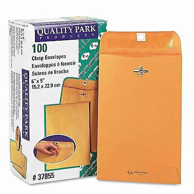 Quality Park Clasp Envelope 100 ct 6x9 Kraft Brown Gummed FREE SHIPPING