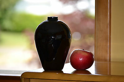 "Rare Cut Top Blown BLACK GLASS VASE 6""&1/2 Tall Modern Look Sweet Display Beauty"