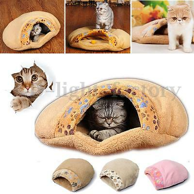Cat Dog Sleeping Bag Warm Snuggle Sack Pet Bed House Cave Igloo Pouch Mat S L