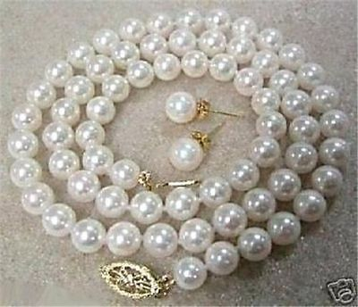 "8mm White Akoya Cultured Shell Pearl Necklace Earring Set 18"" AAA+01"