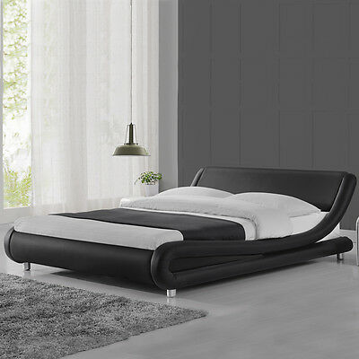 Modern Cool Designer Bed Frame Black White Double King Size Low Italian Design