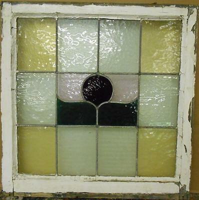 "OLD ENGLISH LEADED STAINED GLASS WINDOW Colorful Abstract Design 24.75"" x 25"""