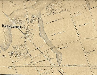 Branchport Oakhurst NJ 1873  Maps with  Homeowners Names Shown