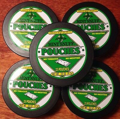 5 Cans Mint Snuff POUCHES Herbal Chew - Tobacco Free & Nicotine Free