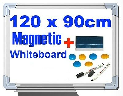 NEW MAGNETIC OFFICE BOARD WHITEBOARD 120 x 90 cm PLUS BUTTONS & ERASER & MARKER