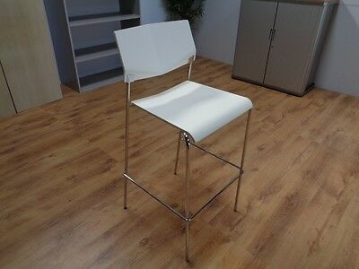 White / Chrome Stacking Canteen / Cafe Bar Stools (REF:1125)