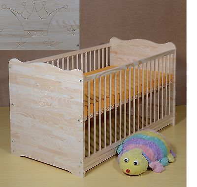 Baby Bed Cot Set Complete Mattress Convertible Solid Wood Crown 120