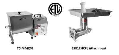 Uniworld Stainless Steel Electric Meat Mixer w/SS812HCPL Grinder ETL TC12E-MMX02