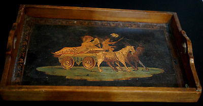 Rare Unique Vintage Wooden Painting Hand Made Mini Tray