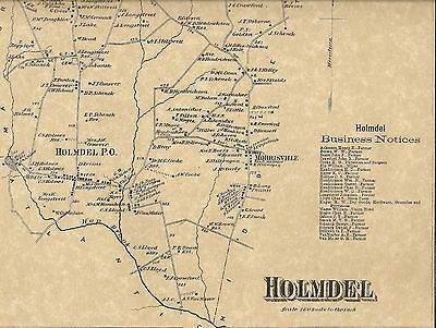 Holmdel Strathmore Crawford Corners NJ 1873 Maps with Homeowners Names Shown