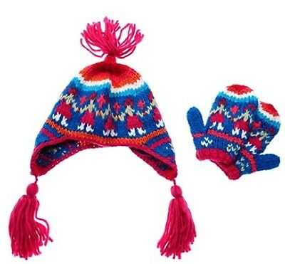 Peter Storm girls 3 4 5 6 7 8 9 10 yrs Rosie hat beanie mittens pink blue gloves