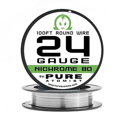 100ft - Nichrome 80 24 Gauge AWG Round Wire Roll - 0.51mm 24g 100' Spool N80