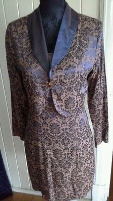 Retro 50's Jackie ish suit shift dress with crop jacket blue brown jacquard vyvc