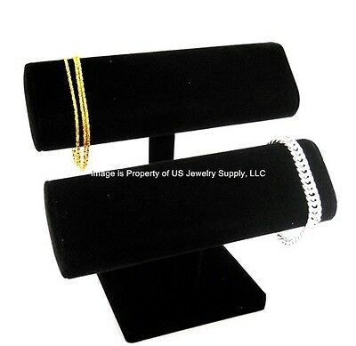 "Black Oval Double T Bar Display for Bracelets, Watches Chains  7 1/2""W x 7""H"