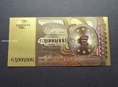 *new* €1 Million Euro Gold Plated Bank Note + Display Case / Eu Banknote