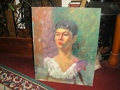 Vintage Expressionist Portrait Oil Painting On Board-Lovely Woman-Low Cut Dress