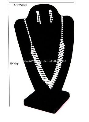 "1 Black 2 piece Necklace Pendant Jewelry Display Bust 5 1/2""W x 4 7/8"" D x 10""H"