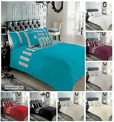 Sequence Lace Luxury Diamante Duvet Cover Set, Designer Bed Linen All Sizes