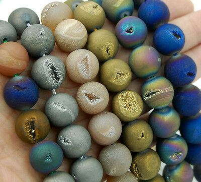 Metallic Titanium Coated Natural Druzy Quartz Matte Agate Round Beads 6mm ~ 14mm
