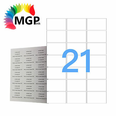 100 Sheets 21 Labels Per Page 2100 Labels 63.5×38.1mm A4 Office Mailing Labels