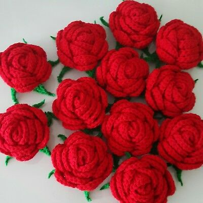 """Lot of 6 Handmade Large RED ROSE Crochet Flower 2.5"""" Sewing Appliques Diy Decor"""