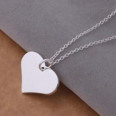 cute hot lady Silver Fashion heart women charms 925 pendant necklace jewelry