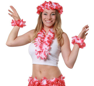 Red 4 Piece Hawaiian Lei Set Flower Necklace Headband Bracelets Fancy Dress