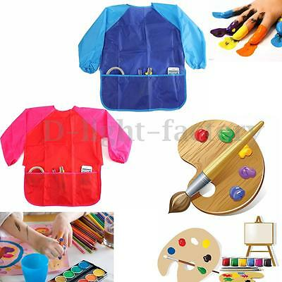 Childs Kids Waterproof Craft Apron F/ Drawing Painting Cooking Smock With Pocket