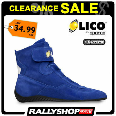 FIA Lico By Sparco Suede Blue Shoes High Fire shoes, size 36 Rally Race Boots