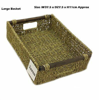 Arpan New Large 100% Seagrass Hamper Storage Tray With Wood Handle - 11-413L