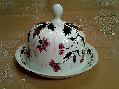 Antique Hand Painted Custard Glass Dome Covered Butter Keeper ca. 1890-1910 RARE