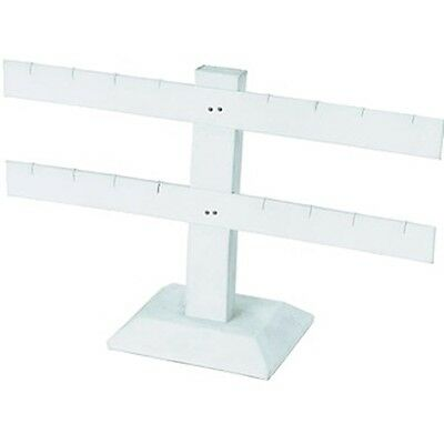 "2 Tier Double Bar White Earring Display Stand 10 1/4""W  x 6 1/2""H"