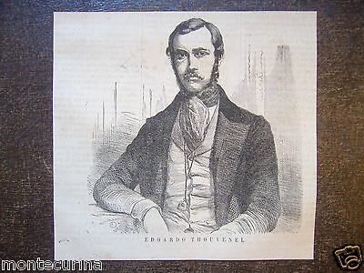 1865 Édouard Thouvenel Ritratto Ambasciatore Francia Stampa Engraving D50