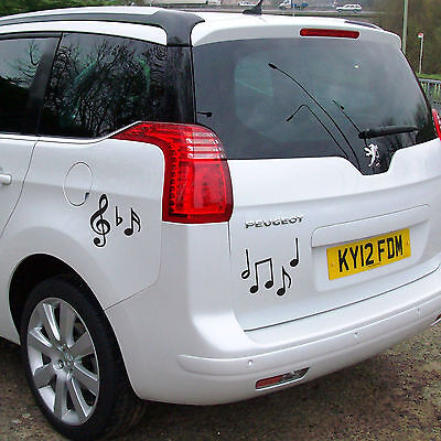 Black Music Symbol Car Stickers - pack of 20 music decals