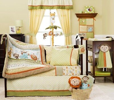 Baby Bedding Cot Crib Quilt Bumpers Sheet Sets - 12 Piece Safari Party Theme New