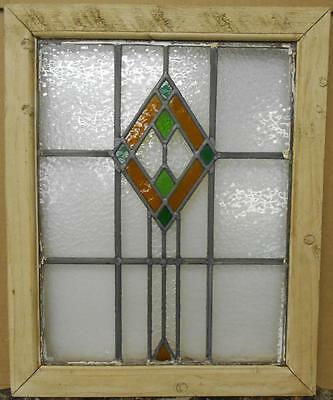 "OLD ENGLISH LEADED STAINED GLASS WINDOW Pretty Diamond Design 19"" x 23.25"""