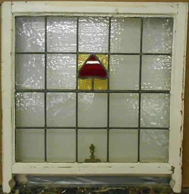 """EDWARDIAN ENGLISH LEADED STAINED GLASS  SASH WINDOW Simple Abstract 26"""" x 24"""""""