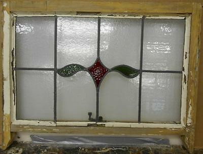 "EDWARDIAN ENGLISH LEADED STAINED GLASS  SASH WINDOW Simple Abstract 28.5"" x 19"""