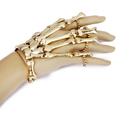 GOTH PUNK Halloween GOLD Skeleton Skull Bone HAND FINGER RING SLAVE BRACELET