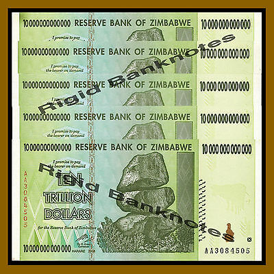 Zimbabwe 10 Trillion Dollars x 5 Pcs, 2008 AA About Unc (AU) 100 Trillion Series