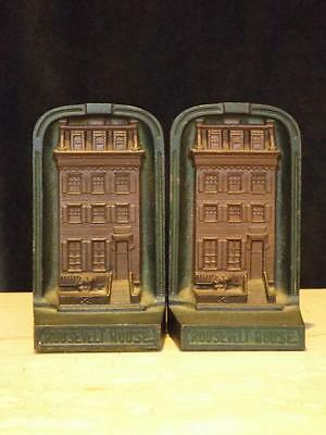 Set 2 Antique CJO Judd Cast Iron Roosevelt House Bookends Signed #9671